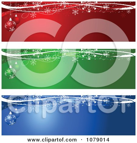 Clipart Red Green And Blue Snowflake And Christmas Bauble Website Banners - Royalty Free Vector Illustration by KJ Pargeter