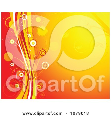 Clipart Orange Floral Background With A Wave And Circles - Royalty Free Vector Illustration by KJ Pargeter