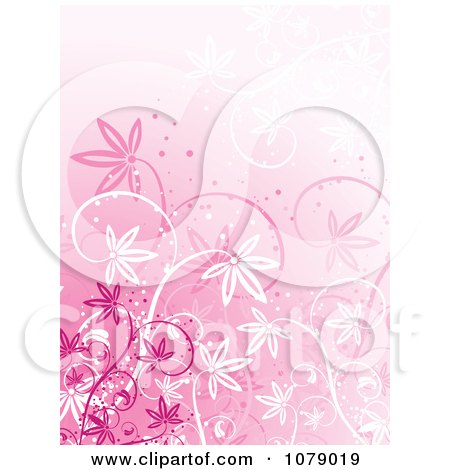 Clipart Pink Floral Grunge Background With Flowers - Royalty Free Vector Illustration by KJ Pargeter