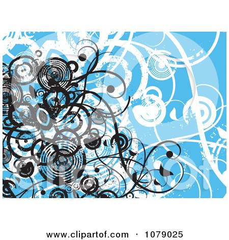 Clipart Blue Floral Grunge Background With Vines And Black Circles - Royalty Free Vector Illustration by KJ Pargeter