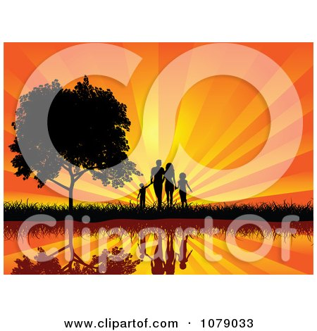 Clipart Silhouetted Walking Family Holding Hands By A Waterfront And Tree Against A Sunset - Royalty Free Vector Illustration by KJ Pargeter