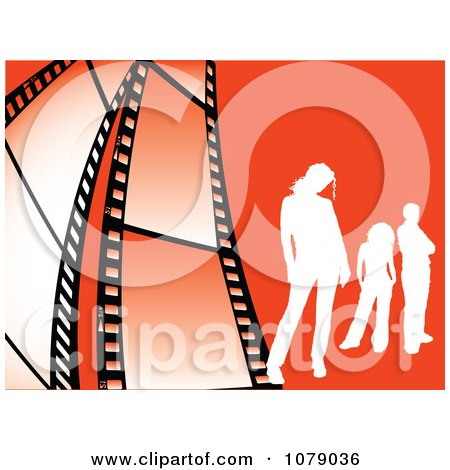 Clipart White Silhouetted People On Orange With Film Strips - Royalty Free Vector Illustration by KJ Pargeter