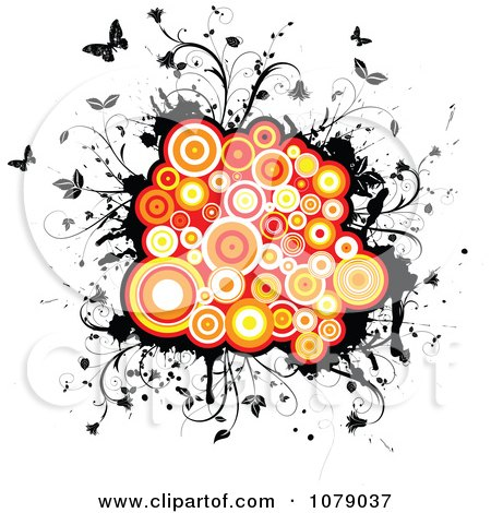 Clipart Orange Circles On Black Grunge With Vines And Butterflies - Royalty Free Vector Illustration by KJ Pargeter