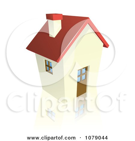 Clipart 3d Red Roofed Cottage House - Royalty Free Vector Illustration by AtStockIllustration