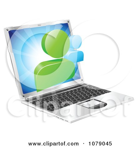 Clipart 3d Social Media Networking Icon Over A Laptop Computer - Royalty Free Vector Illustration by AtStockIllustration