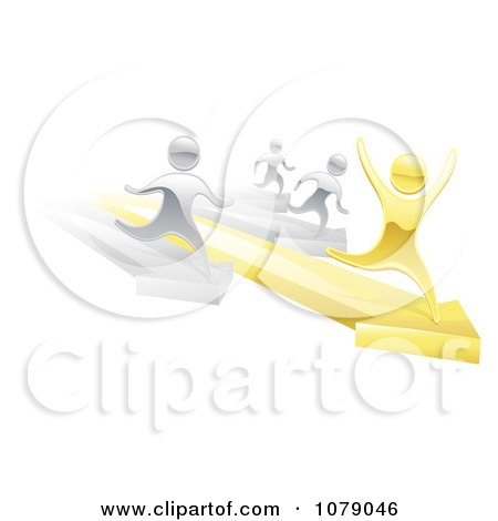 Clipart 3d Silver People Racing Against A Gold Man On Arrows - Royalty Free Vector Illustration by AtStockIllustration
