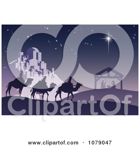 Clipart Christian Christmas Nativity Scene With The Three Wise Men And The Birth Of Baby Jesus In The Manger - Royalty Free Vector Illustration by AtStockIllustration