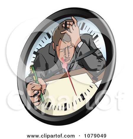 Clipart Stressed Businsesman Trying To Meet A Deadline On A Clock Face - Royalty Free Vector Illustration by AtStockIllustration