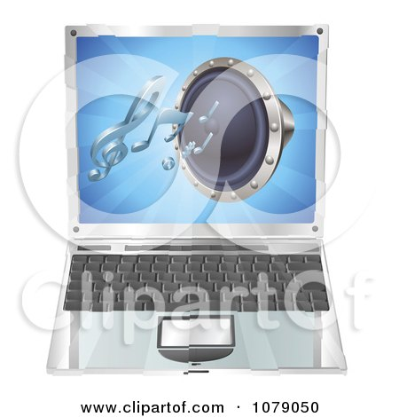 Clipart 3d Audio Speaker Emerging From A Laptop Computer - Royalty Free Vector Illustration by AtStockIllustration
