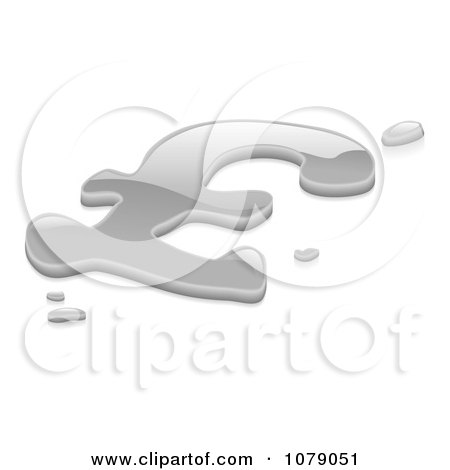 Clipart 3d Liquid Silver Pound Sterling Symbol - Royalty Free Vector Illustration by AtStockIllustration