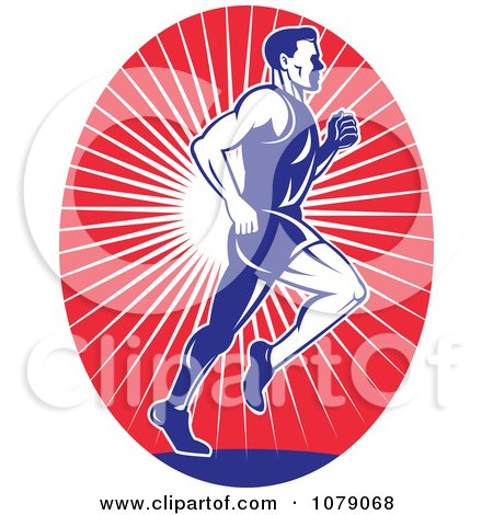 Clipart Blue Runner Over Red Rays Logo - Royalty Free Vector Illustration by patrimonio
