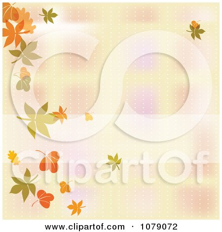 Clipart Blurred Autumn Background With A Border Of Falling Leaves - Royalty Free Vector Illustration  by MilsiArt