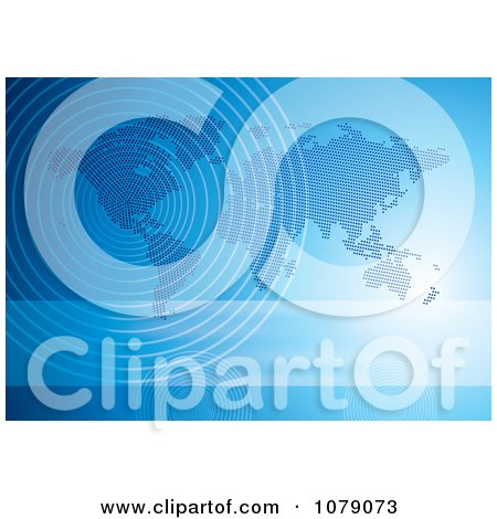 Clipart Blue Halftone World Map With Communication Wave Signals - Royalty Free Vector Illustration  by MilsiArt