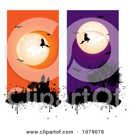 Clipart Orange And Purple Full Moon Bats Witch And Haunted Castle Vertical Website Banners - Royalty Free Vector Illustration  by MilsiArt