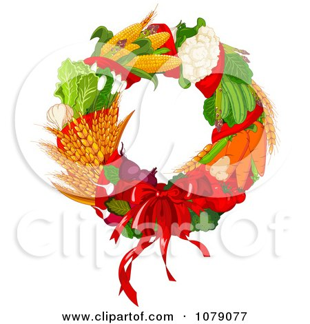 Clipart Autumn Harvest Decorative Wreath - Royalty Free Vector Illustration by Pushkin