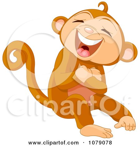 Clipart Monkey Laughing Out Loud - Royalty Free Vector Illustration by Pushkin
