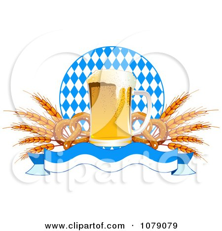 Clipart Frothy Oktoberfest Beer With Soft Pretzels And Wheat Over A Banner And Diamonds - Royalty Free Vector Illustration by Pushkin