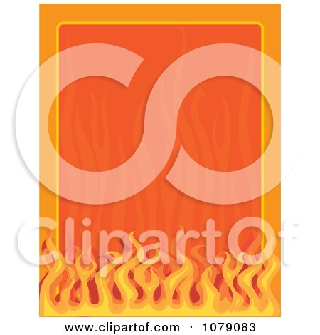 Clipart Border Frame Of Orange Flames - Royalty Free Vector Illustration by Maria Bell