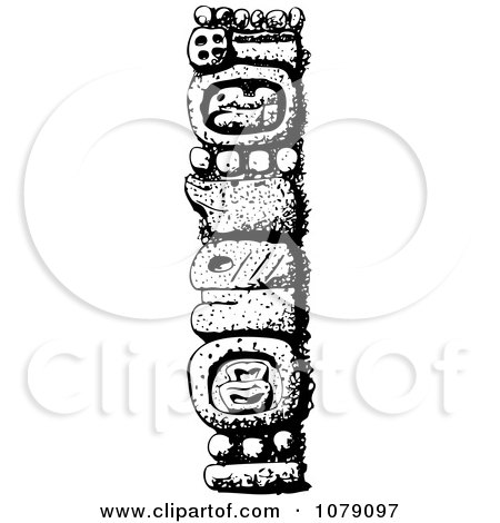 Clipart Black And White Mexican Totem Pole - Royalty Free Vector Illustration by David Rey