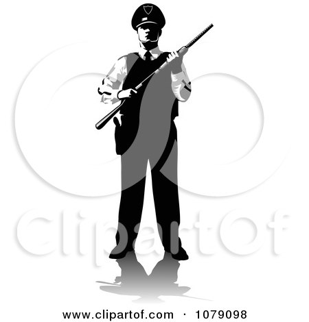 Clipart Black And White Security Guard Holding A Shot Gun - Royalty Free Vector Illustration by David Rey