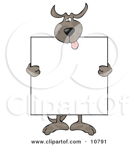 Happy Dog Holding a Blank Sign Clipart by djart