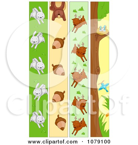 Clipart Vertical Rabbit Squirrel Deer And Bird Banners - Royalty Free Vector Illustration by BNP Design Studio