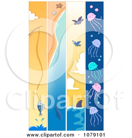 Clipart Vertical Fishing Whale Shark And Jellyfish Banners - Royalty Free Vector Illustration by BNP Design Studio