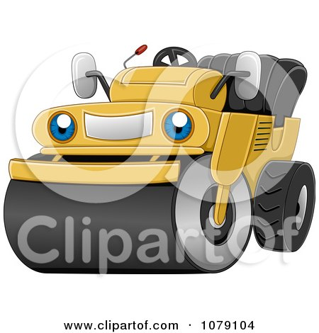Clipart Happy Road Roller Machine - Royalty Free Vector Illustration by BNP Design Studio