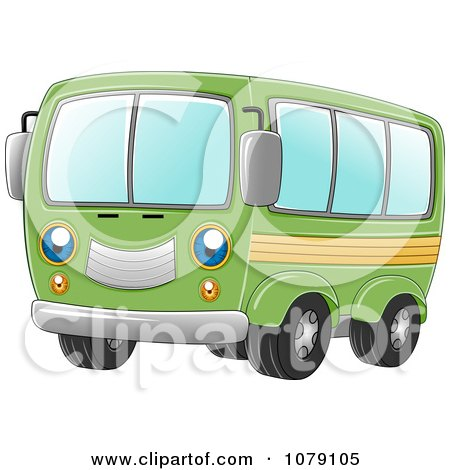 Clipart Happy Green Van - Royalty Free Vector Illustration by BNP Design Studio