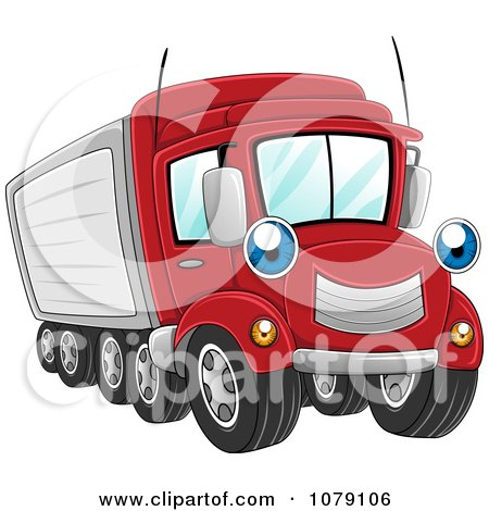 Clipart Happy Big Rig Truck - Royalty Free Vector Illustration by BNP Design Studio