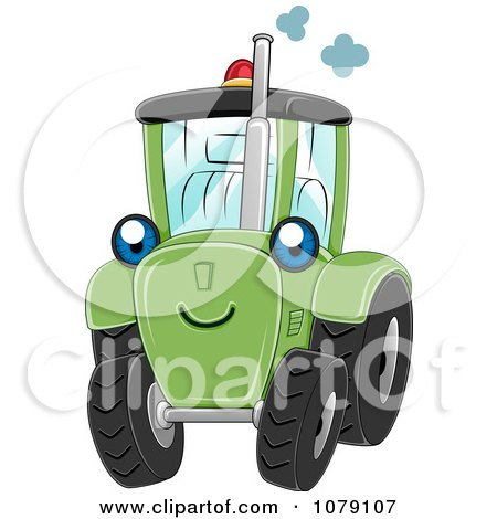 Clipart Happy Green Tractor - Royalty Free Vector Illustration by BNP Design Studio