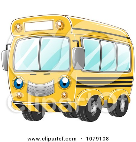 Clipart Happy Yellow School Bus - Royalty Free Vector Illustration by BNP Design Studio