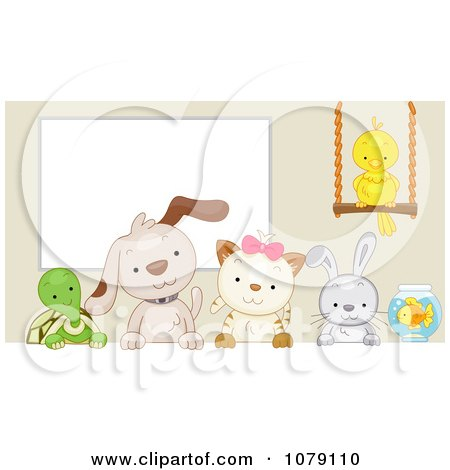 Clipart Cute Tortoise Puppy Kitten Rabbit Bird And Fish By A White Board - Royalty Free Vector Illustration by BNP Design Studio