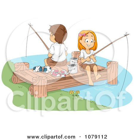 Clipart Summer Camp Kids Fishing On A Dock - Royalty Free Vector Illustration by BNP Design Studio