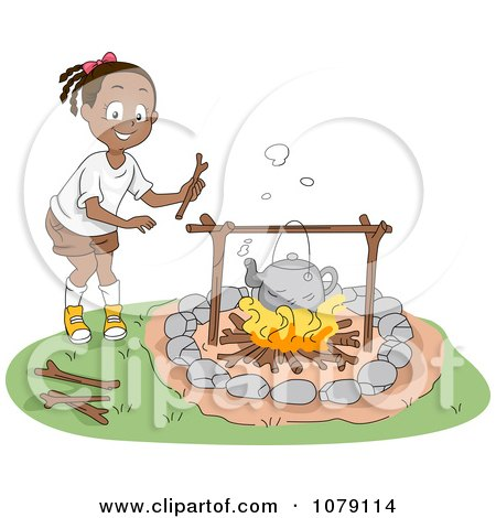 Cute Black Girl Boiling Water Over A Campfire By BNP Design Studio