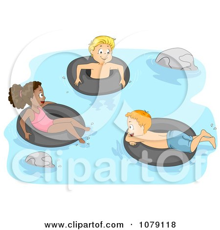Clipart Summer Camp Kids Swimming With Inner Tubes - Royalty Free Vector Illustration by BNP Design Studio