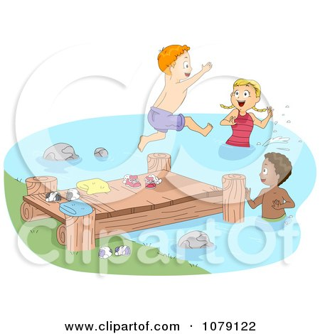 Clipart Summer Camp Children Jumping Off Of A Dock And Swimming - Royalty Free Vector Illustration by BNP Design Studio