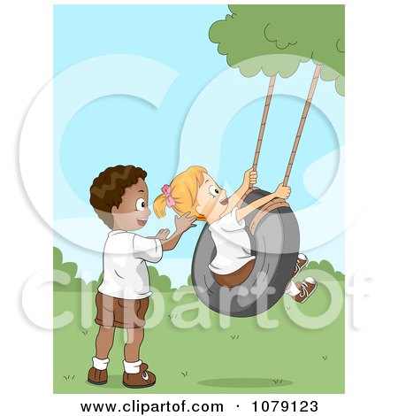 Clipart Summer Camp Kids Playing On A Tire Swing - Royalty Free Vector Illustration by BNP Design Studio