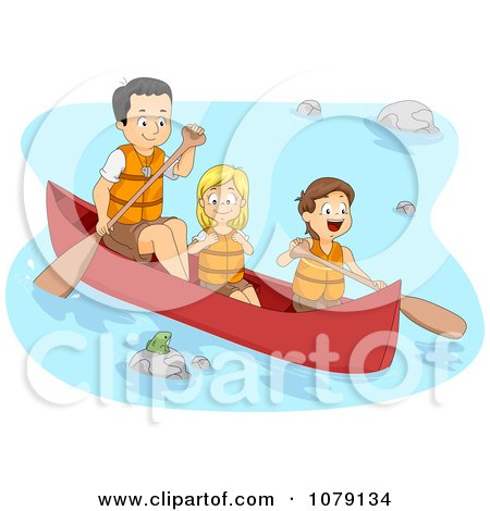 Clipart Father And Children Boating On A River - Royalty Free Vector Illustration by BNP Design Studio