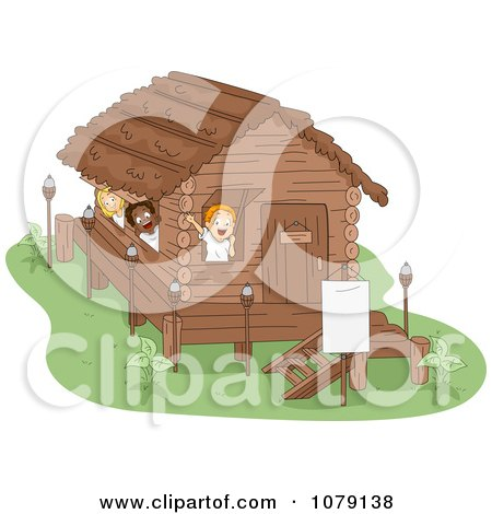 Clipart Summer Camp Kids Waving From Their Cabin - Royalty Free Vector Illustration by BNP Design Studio