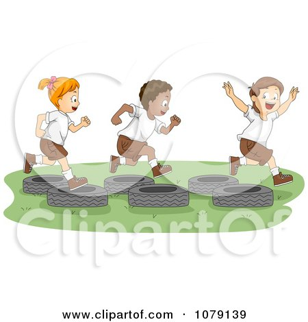 Summer Camp Kids Playing On A Tire Obstacle Course Posters, Art Prints