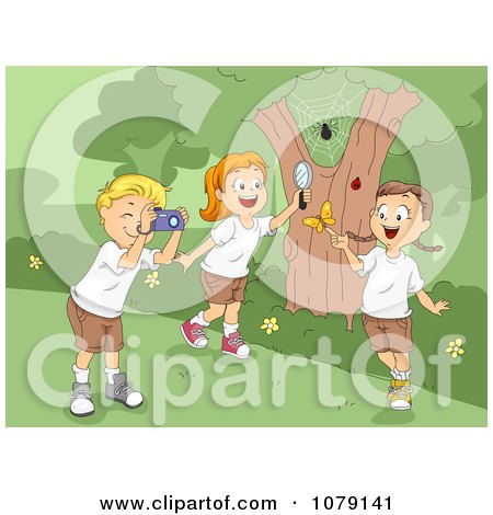 Clipart Summer Camp Kids Playing With Bugs - Royalty Free Vector Illustration by BNP Design Studio