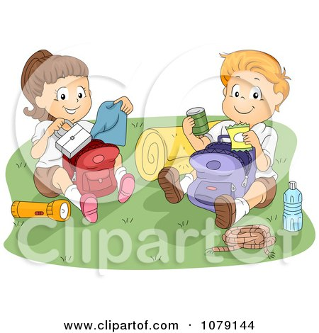 Clipart Summer Camp Kids Going Through Their Backpacks - Royalty Free Vector Illustration by BNP Design Studio