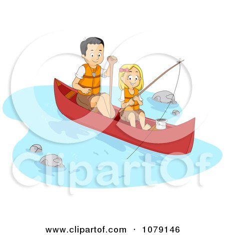 Clipart Father And Daughter Fishing And Boating On A River - Royalty Free Vector Illustration by BNP Design Studio