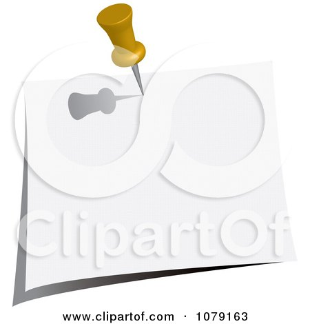 Clipart Yellow Push Pin Tacking A Blank Note To A Wall - Royalty Free Vector Illustration by Pams Clipart