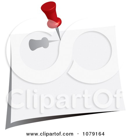 Clipart Red Push Pin Tacking A Blank Note To A Wall - Royalty Free Vector Illustration by Pams Clipart