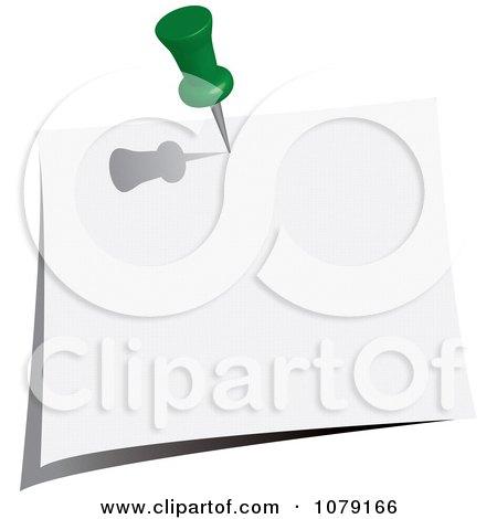 Clipart Green Push Pin Tacking A Blank Note To A Wall - Royalty Free Vector Illustration by Pams Clipart