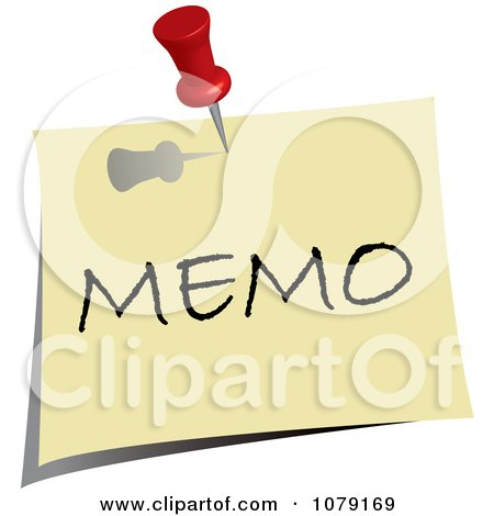 Clipart Red Push Pin Tacking A Memo Note To A Wall - Royalty Free Vector Illustration by Pams Clipart