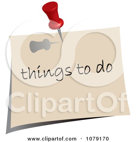 Clipart Red Push Pin Tacking A Things To Do Note To A Wall - Royalty Free Vector Illustration by Pams Clipart