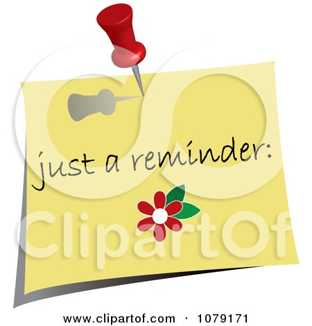 Clipart Red Push Pin Tacking A Just A Reminder Note To A Wall - Royalty Free Vector Illustration by Pams Clipart